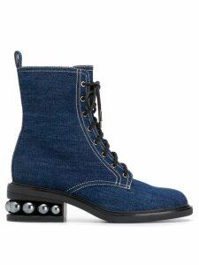 Nicholas Kirkwood Casati Pearl combat boots - Blue