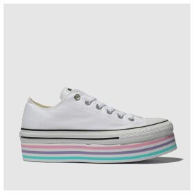 Converse White & Pink All Star Lift Rainbow Trainers
