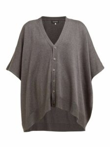 Eskandar - Oversized Raw Silk Tabard Cardigan - Womens - Dark Grey