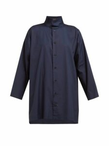 Eskandar - Band Collar Cotton Poplin Shirt - Womens - Navy