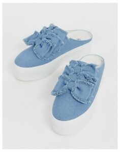 ASOS DESIGN Durham bow mule trainers-Blue