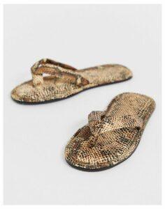 ASOS DESIGN Natia flip flop slippers in snake-Multi