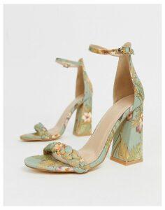 Co Wren plaited flare heeled sandals