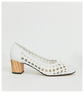 Miss Selfridge woven heeled shoes in white-Black