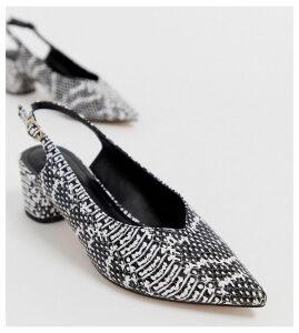 Miss Selfridge pointed block heel with sling back in snake print