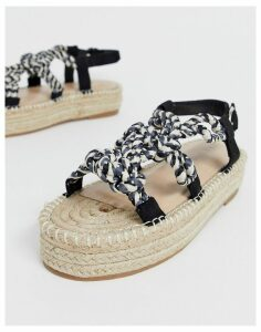 Co Wren rope espadrille flatform sandals-Black