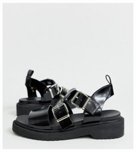 ASOS DESIGN Wide Fit Fate chunky flat sandals-Black