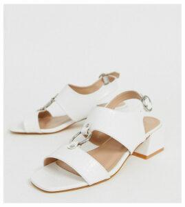 Co Wren ring mid heel sandals in croc-White