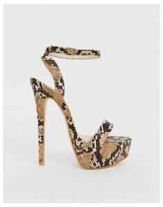 Simmi London Scandal snake print platform heeled sandals