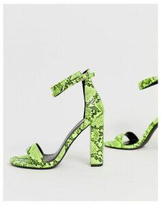 Simmi London Heidi acid bright green block heeled sandals