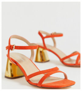 London Rebel wide fit mid heel stud sandals-Orange