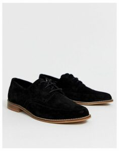ASOS DESIGN Marshall lace up leather flat shoes-Black