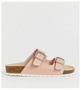 London Rebel wide fit double buckle flat sandals-Beige