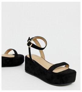 RAID Wide Fit Trina black two part flatform sandals
