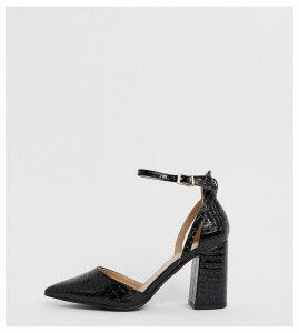 RAID Wide Fit Katy black croc effect block heeled shoes
