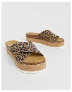 ASOS DESIGN Transaction leather flatforms in leopard-Multi
