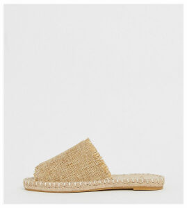 Truffle Collection wide fit frayed edge mules-Beige