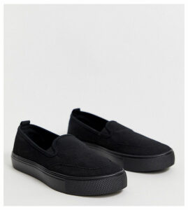 ASOS DESIGN Wide Fit Dexter slip on plimsolls in black