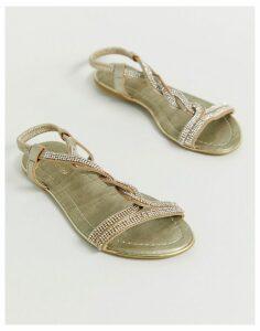 Pia Rossini embellished plait flat sandal-Gold