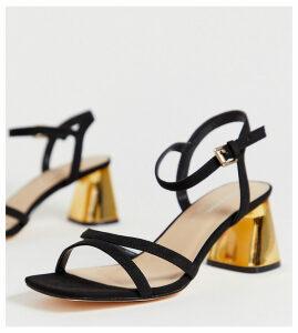 London Rebel wide fit mid heel stud sandals