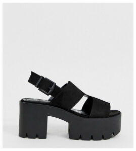 Bershka multi strap chunky sandals-Black