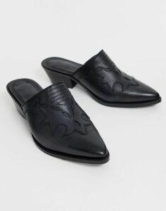 ASOS DESIGN Monaco premium leather western mule in black