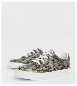 ASOS DESIGN Wide Fit Value trainers in snake-Multi