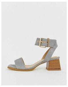 RAID Bessie grey square toe mid heeled sandals