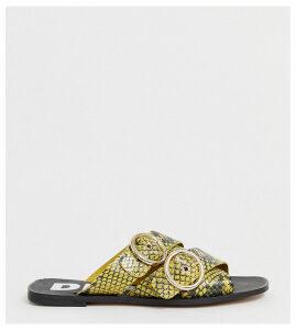 Depp wide fit leather double buckle open toe mule in snake-Yellow