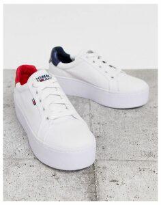 Tommy Jeans flag logo flatform sneaker-White