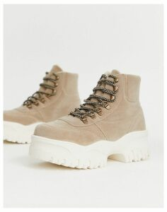 ASOS DESIGN Dash fur lined chunky hi-top trainers in beige