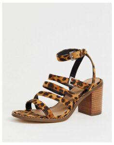 ASOS DESIGN Tycoon heeled sandals in leopard-Multi