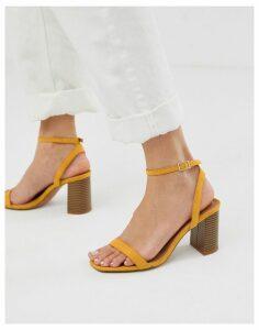 ASOS DESIGN Hong Kong barely there block heeled sandals in mustard-Yellow
