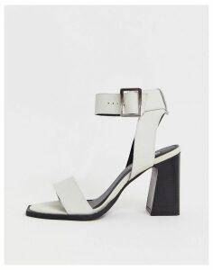 ASOS DESIGN Herbert leather block heeled sandals in white
