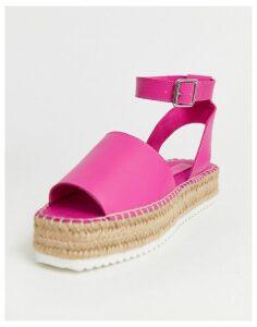 ASOS DESIGN Jacoba leather flatform espadrilles in magenta-Pink