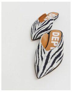 Depp leather pointed mules in zebra-Multi
