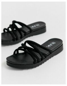 Blink tubular mule flat sandals-Black