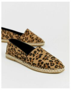 Truffle Collection leopard espadrille-Brown