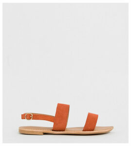Park Lane wide fit leather flat sandal-Orange