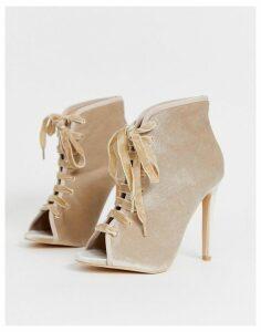 Glamorous metallic lace up heels-Gold