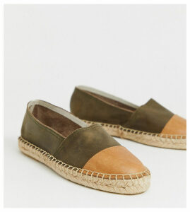 Solillas Exclusive khaki suede espadrilles with tan toe caps