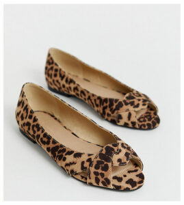 ASOS DESIGN Wide Fit Leadership peeptoe ballet flats in leopard-Multi