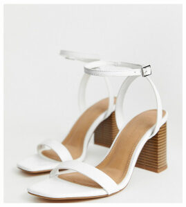 ASOS DESIGN Wide Fit Hong Kong barely there block heeled sandals in white