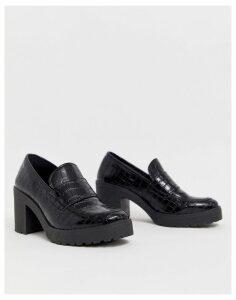 ASOS DESIGN Shores chunky mid-heels in black croc