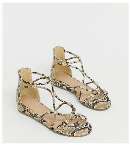 Simply Be wide foot flat sandals with cross front detail in snake-Multi