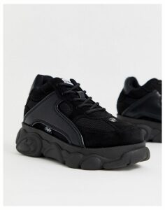 Buffalo Colby black leather lowtop chunky trainers