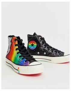 Converse Pride Chuck '70 Hi Rainbow Black Glitter Trainers