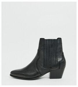 Mango leather western Chelsea boot in black