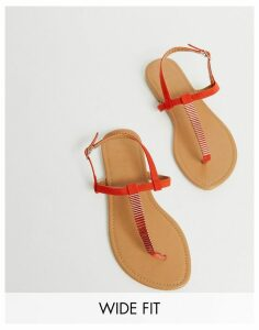 New Look Wide Fit toepost flat sandals in red