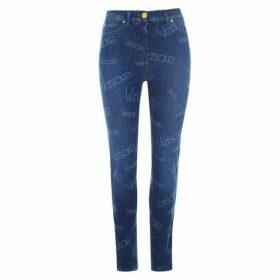 Versace Jeans High Waisted Skinny Logo Jeans